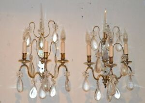 Antique Louis XV Style Silvered and Cut Glass Sconces, 19th Century