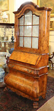 Incredible Narrow Width Inlaid Italian Secretary Desk Exotic Woods MINT