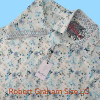 Robert Graham Meridian Short Sleeve Button Down Men's Shirt Flip Cuff SZ L NEW