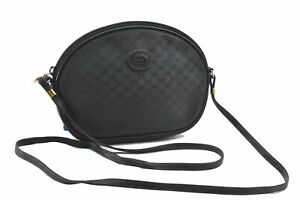 Authentic GUCCI Micro GG PVC Leather Shoulder Cross Body Bag Black E0110