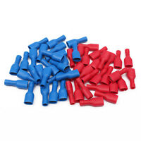 50Pcs Red+Blue 6.3mm Female Insulated Spade Crimp Terminal Connectors Tools Kits
