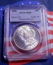 1884-P 1884 MORGAN SILVER DOLLAR $1 PCGS MS 64 - BLAST WHITE - FULL MINT LUSTER!
