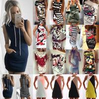 Women T-Shirt Dress Bodycon Tunic Crew Neck Mini Dress Sundress Party Clubwear