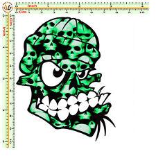 Adesivi moto casco teschio sticker bomb skull green stylized tuning helmet 1 pz.