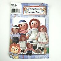 """Simplicity Pattern 9447 Raggedy Ann & Andy 15"""" 26"""" 36"""" Dolls & Clothes"""