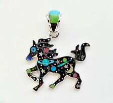 SULTRY GALAXY TURQUOISE/MULTI STONE SPINY OPAL  INLAY .925 SILVER HORSE PENDANT