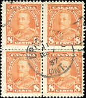 Used Canada F+ 1935 Block of 4 8c Scott #222 King George V Pictorial Stamps