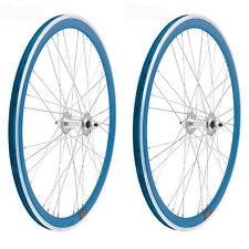 2x Llanta Rueda para Bicicleta Fixed Fixied 700 Aluminio Rodamientos AZUL 3750