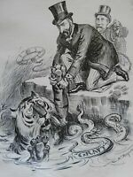 Tammany Hall Tiger Drowning in Corruption 1903 old print