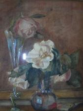 Roses en verre vases, C19th impressionniste Flower Still Life. Amy Packham.