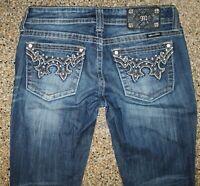 Miss Me Womens Boot cut Jeans Sz 27 Studs Rhinestones 30W x 33L JW5307B7 EUC