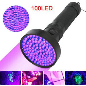 Torch Uv Light 100 LED Ultra Violet Flashlight Lamp Blacklight Pet Urine Detect