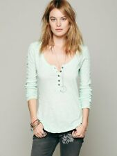 Size Small Free People Shell Stitch Green Henley Shirt Long Sleeve Womens Top