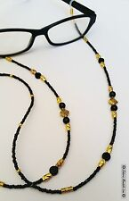 GOLD & Black Eye Glasses Holder Necklace Lanyard HANDMADE, Fashion Accessory