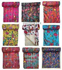 Indian Quilt Handmade Kantha Bedspread Throw Cotton Blankets Ralli Gudari Quilt