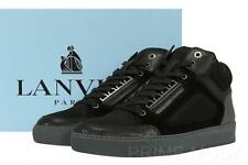 NEW LANVIN CURRENT MEN'S BLACK HIGH-TOP SNEAKERS LACE-UP BOOTS SHOES 8/US 9