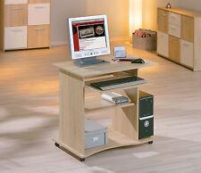 Bureau console meuble informatique table tablette à clavier avec roulette CHÊNE
