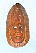 "Guatemalan MAYAN Indigenous American Chief Hand Carved Wood 12"" Mask Wall Decor"