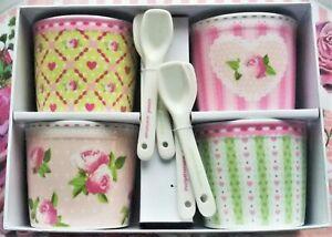 *4er Set Dessert Eisbecher Porzellan Vintage Retro Blüten Landhaus Schüssel