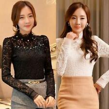 Womens Ladies Chiffon Lace Long Sleeve Frill Ruffle High Neck Tops Blouse Shirt