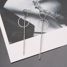 Korean Female Geometric Double Circle Dangling Earrings BTS Drop Earring Jewelry