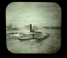 Magic Lantern Slide Tugboat QUAKER CITY Tugging Canal Boats East River NYC c1892