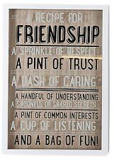 Decorative Box Frame 3D Quote Hanging Sign Plaque ~ A Recipe For Friendship