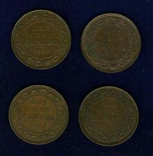 CANADA LARGE CENT COINS: 1893, 1906, 1912 (2), 1913, 1914, 1918, 1919, LOT OF 8