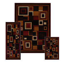 Red Modern Geometric Squares 3 Pcs Area Rug Contemporary Runner Combo Mat Set