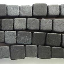 """16"""" Nero Naturale Perline cubo di pietra 10 mm"""