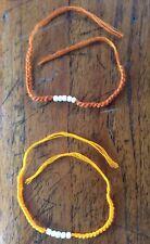 Lot Bracelet safran orange Thai sacré Sai Sin béni coton Chance Bouddhisme Thaï