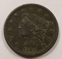 1838 1c Coronet Head Large Cent - Mid-Grade Details -SKU-Y2569