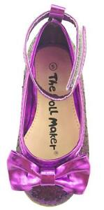 Girl's Sparkly Wedding Party Dress Shoes Glitter Purple w/ Ankle Wrap Toddler