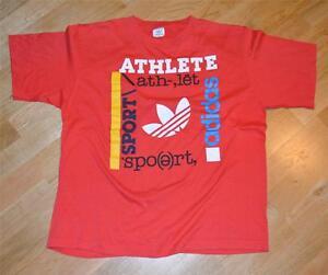 RaRe *1980's ADIDAS TREFOIL* vintage soft red hipster run dmc t-shirt (XL) 80s