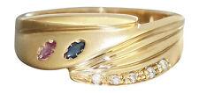 Goldring 585 Rubin Safir Brillant - Damenring - Brillantring Ring Gelbgold RW 56