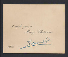 Prince Edward King Edward VIII Duke of Windor Signed Christmas Card 1921