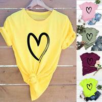 Oversize S-5XL Heart Print Women Casual T Shirt Short Sleeve Summer Top Shirt