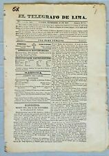 PERU newspaper gazette TELEGRAFO 1827 about Mexico naval Key West gov S. Bolivar