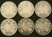 1907 1910 1912 1918 1919 1929 Canada 25 Cents Lot of 6 #1752