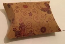 Three Kraft Pillow Gift Boxes Butterfly Design 6.8x5.8x2.5cm New Free Postage