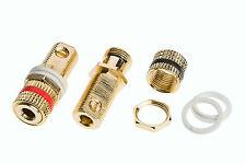 2 Qualità 24k Gold Solderless Speaker Terminal Binding Post + 4 RONDELLE IN NYLON