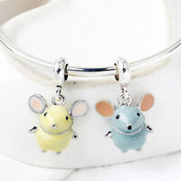 2pcs/set Enamel mouse pendant bangle trinket animal jewelry for women gift s/