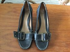CLARKS BLACK LEATHER COURT SHOES SIZE 5....