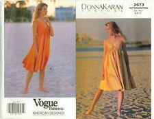 Vogue 2673 Misses DONNA KARAN Flared Dress Sewing Pattern Size 6-8-10 UNCUT FF
