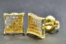 Yellow Diamond Studs 10K Yellow Gold 0.15 CT Pave Kite Shaped Earrings