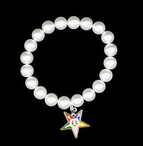 OES Silver Tone Pearl Pendant Bracelet - Eastern Star Bracelet