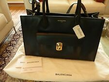 $2395 BALENCIAGA Dark Blue Tote Handbag Bag & Mirror Smooth Leather NEW Italy