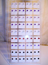 Joblot of 36 Pairs 4mm Cubic Zarconia mixed Round stud Earrings - new wholesale