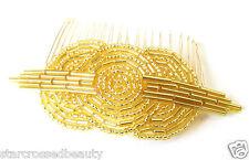 Années 1920 Gold de perles sur peigne pour tambour great gatsby vintage deco nuptiale Clip Q60