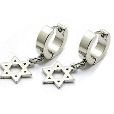 Titanium steel Men Women Punk Magen David Pattern Clip-on ear drop Earrings